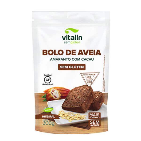 Mistura De Bolo Aveia,Amaranto E Cacau Sem Glúten 300gr - Vitalin