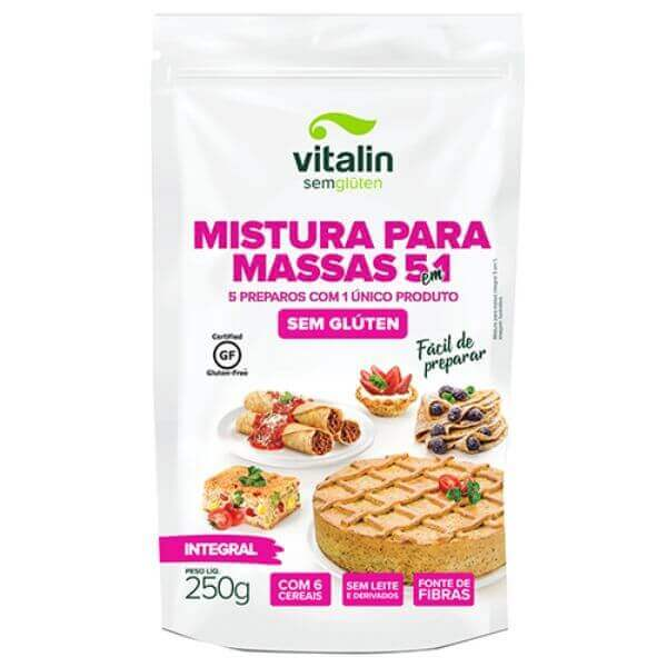Mistura Para Massas 5 Em 1 Sem Glúten Integral 250gr - Vitalin