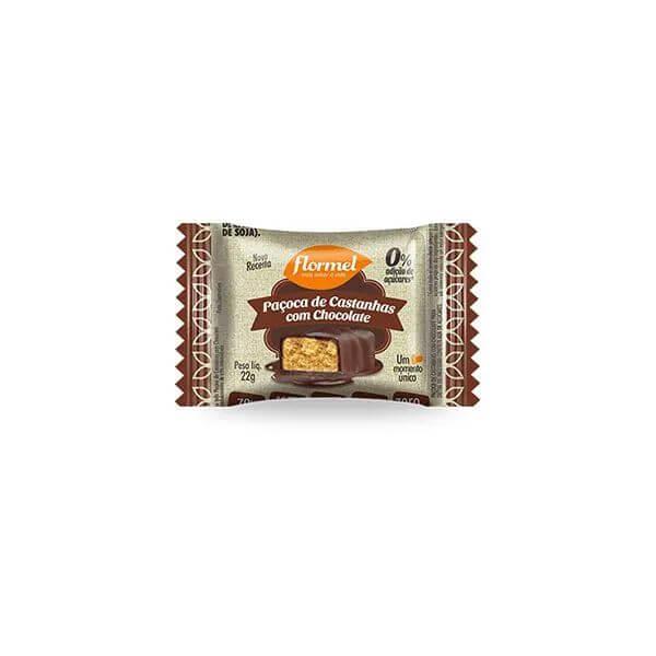 Paçoca De Castanha Com Chocolate Zero Açúcar 20gr - Flormel