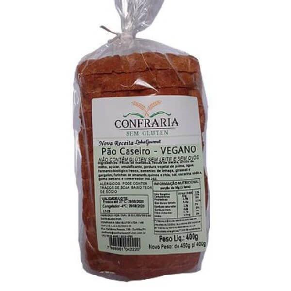 Pão Integral Vegano Sem Glúten 400gr - Confraria Sem Glúten