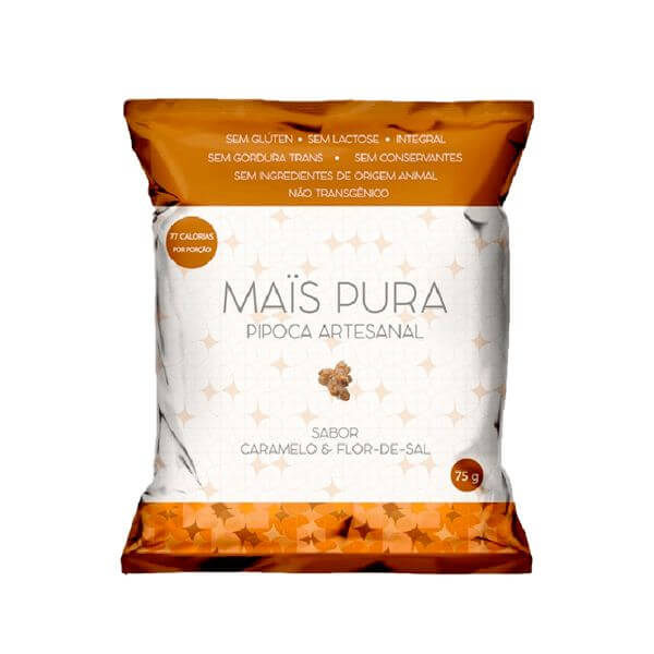 Pipoca Artesanal Sabor Caramelo E Flor De Sal 75gr - Mais Pura