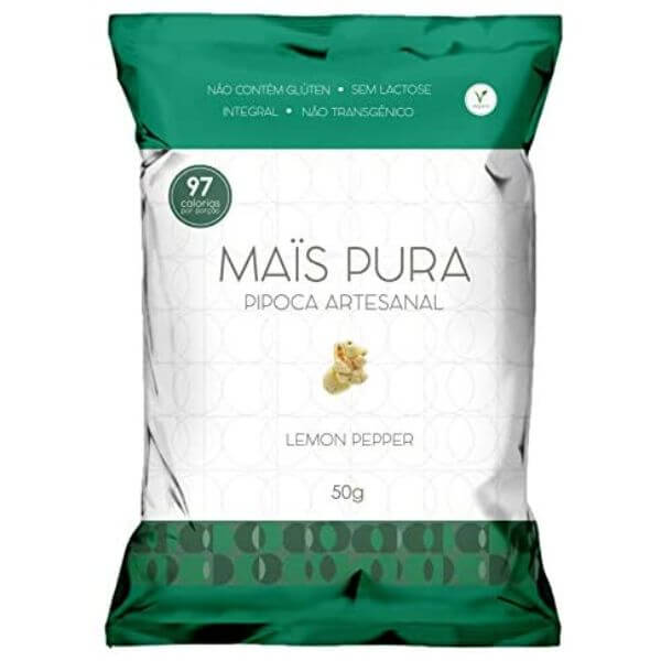 Pipoca Artesanal Sabor Lemon Pepper 50gr - Mais Pura