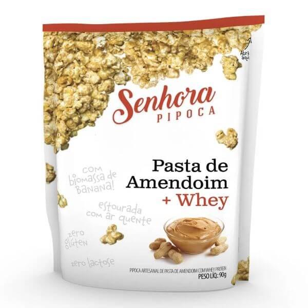 Pipoca de Pasta de Amendoim com Whey 90gr - Senhora Pipoca
