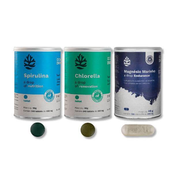 Power Box Spirulina, Chlorella e Magnésio Marinho - Ocean Drop