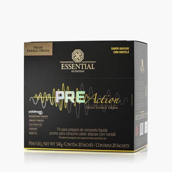 Pré Action Energy Drink sabor Abacaxi com Hortelã 540gr - Caixa com 20 sachês de 27g - Essential Nutrition