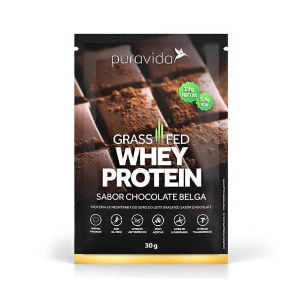 Whey Protein Grassfed Choc. Belga Sachê 30gr - Pura Vida