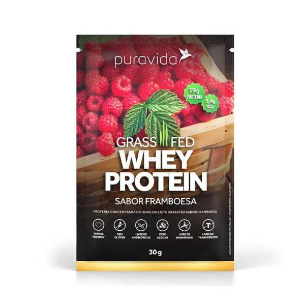 Whey Protein Grassfed Framboesa Sachê 30gr - Pura Vida
