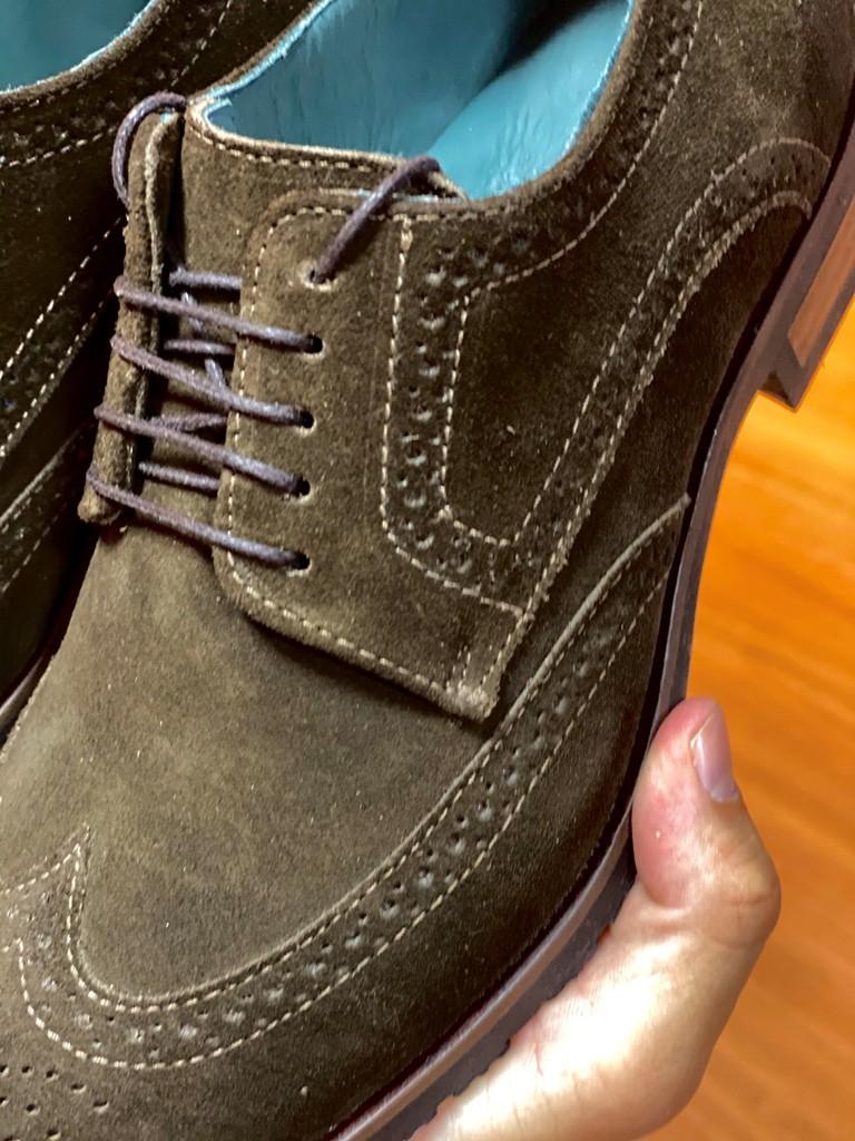 Sapato Derby Brogue Camurça