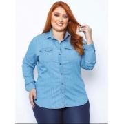Blusa Camisa Jeans Feminina Plus Size Tnw Jeans 52031