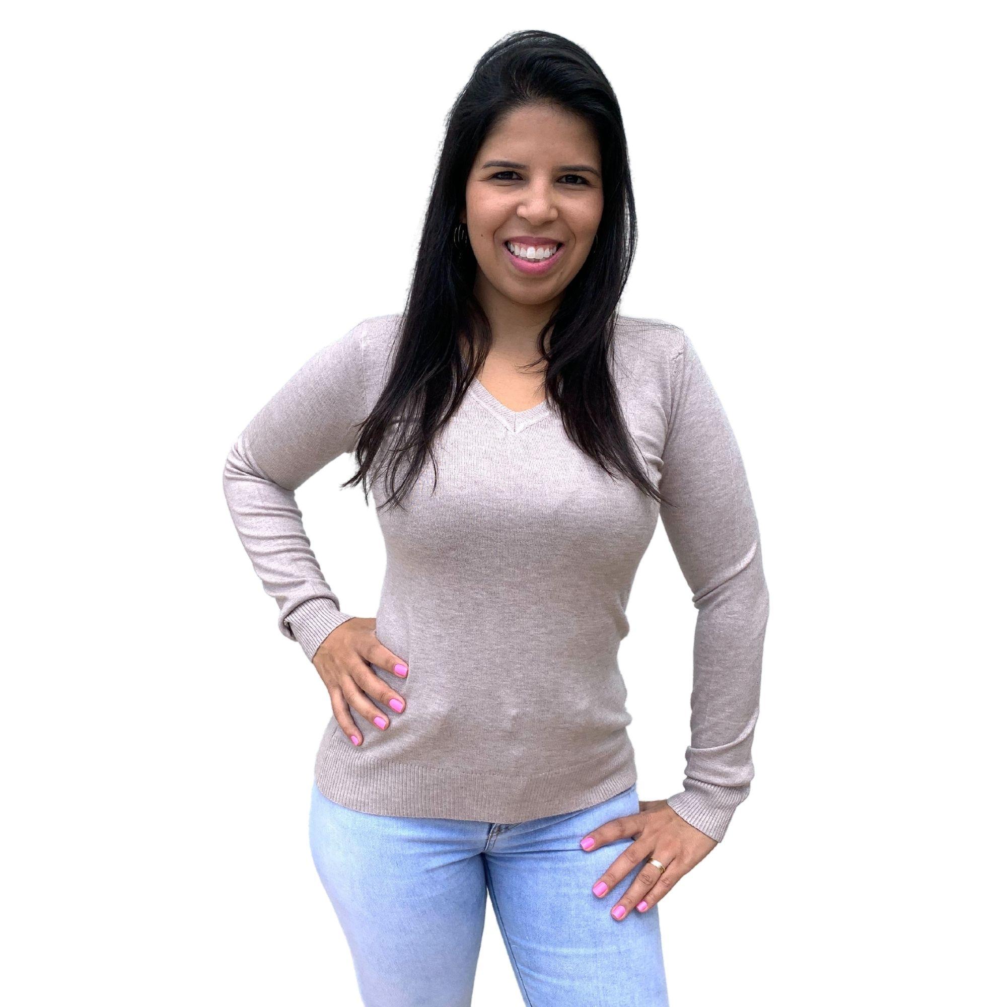 Blusas Sueter Decote V Facinelli 650721