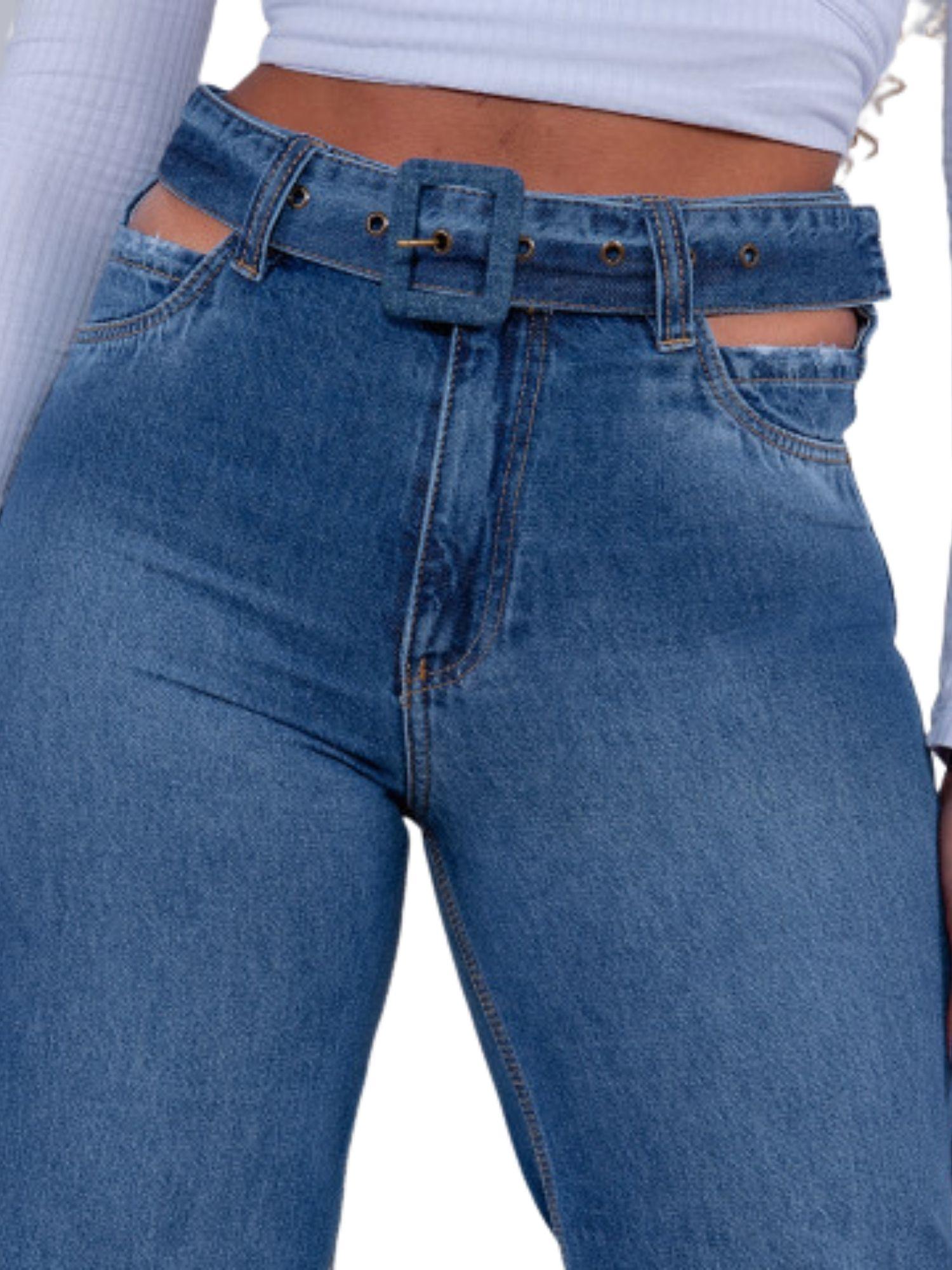 Calça Feminina Wide Frente Espelho Vazado Revanche  29811