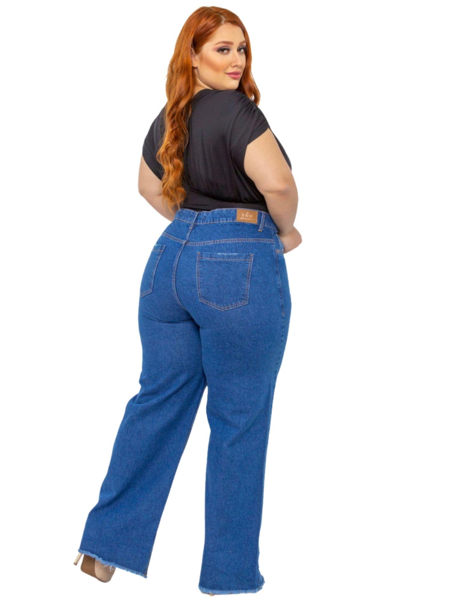 Calça Feminina Wide Leg Plus Size Tnw Jeans 30104