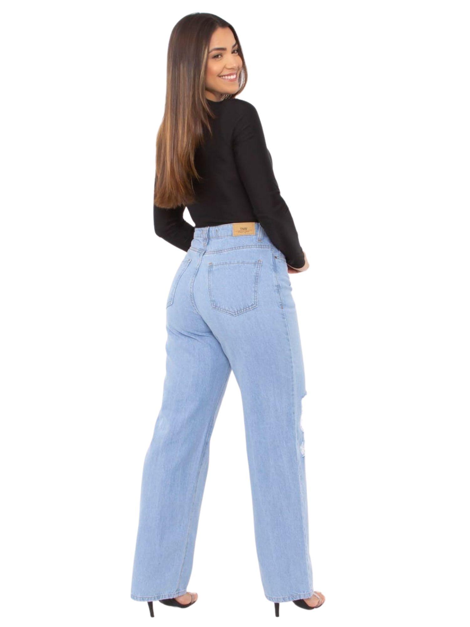 Calça Feminina Wide Leg Rasgada Tnw Jeans 44046