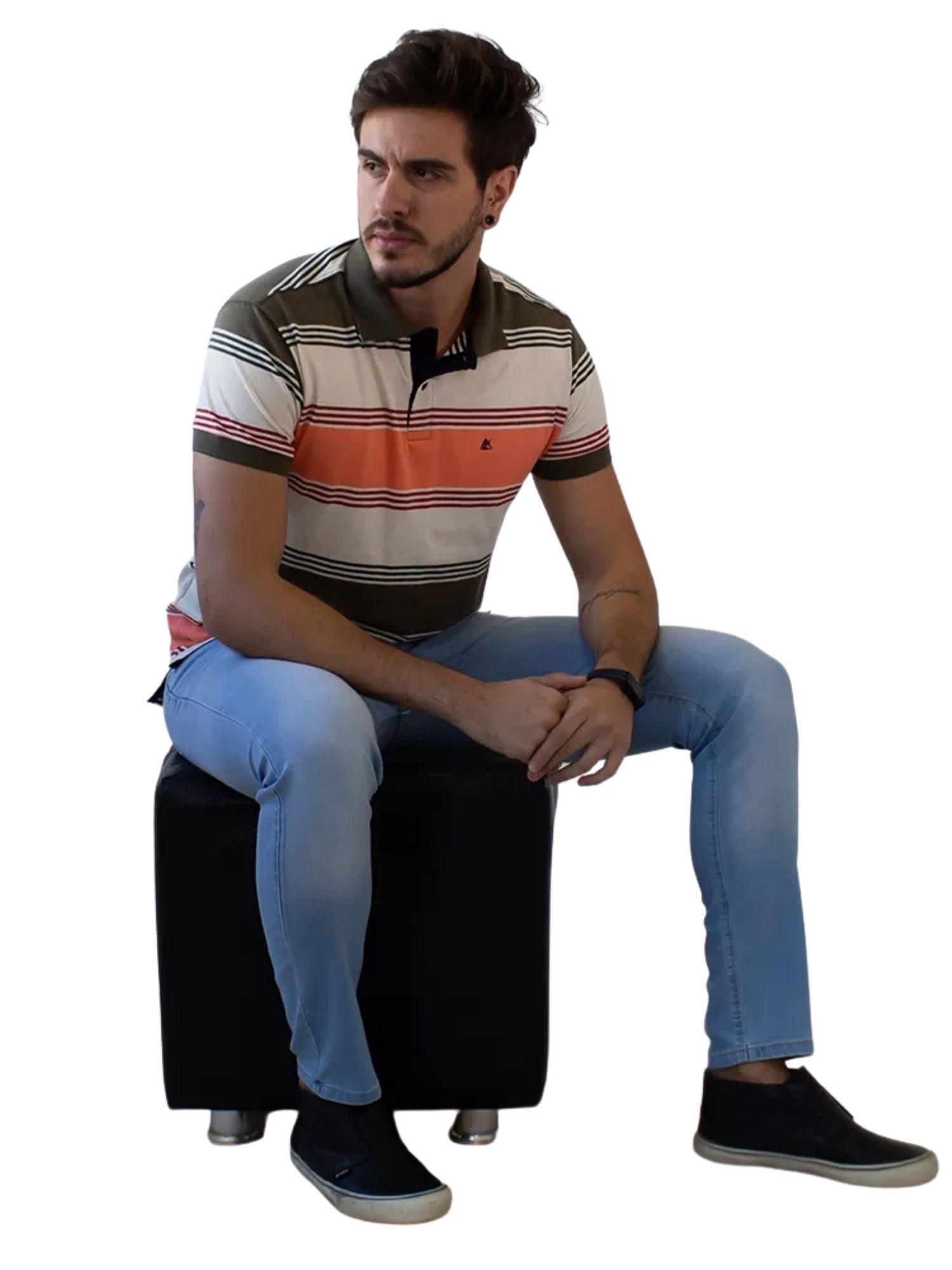 Camiseta Polo Masculina Listrada Anticorpus  52226