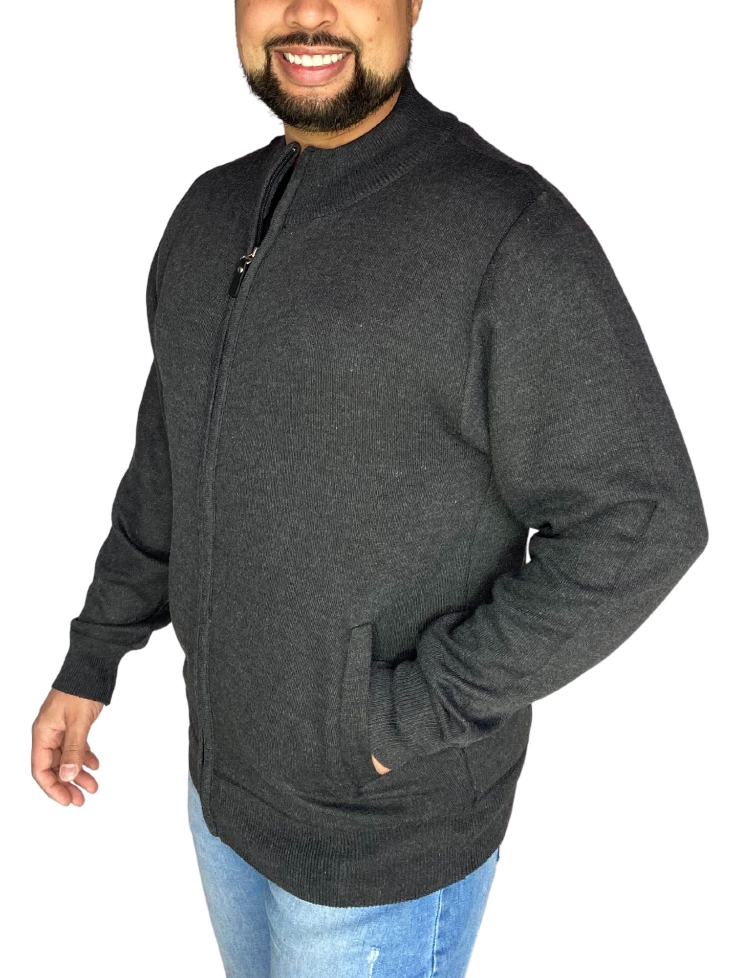 Cardigan Masculino Tricot Zíper Plus Size 598003