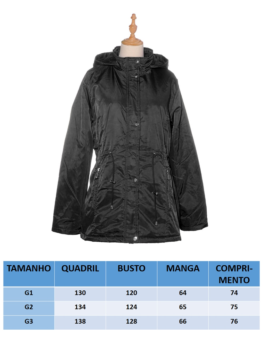 Jaqueta Parka Plus Size Facinelli 698004