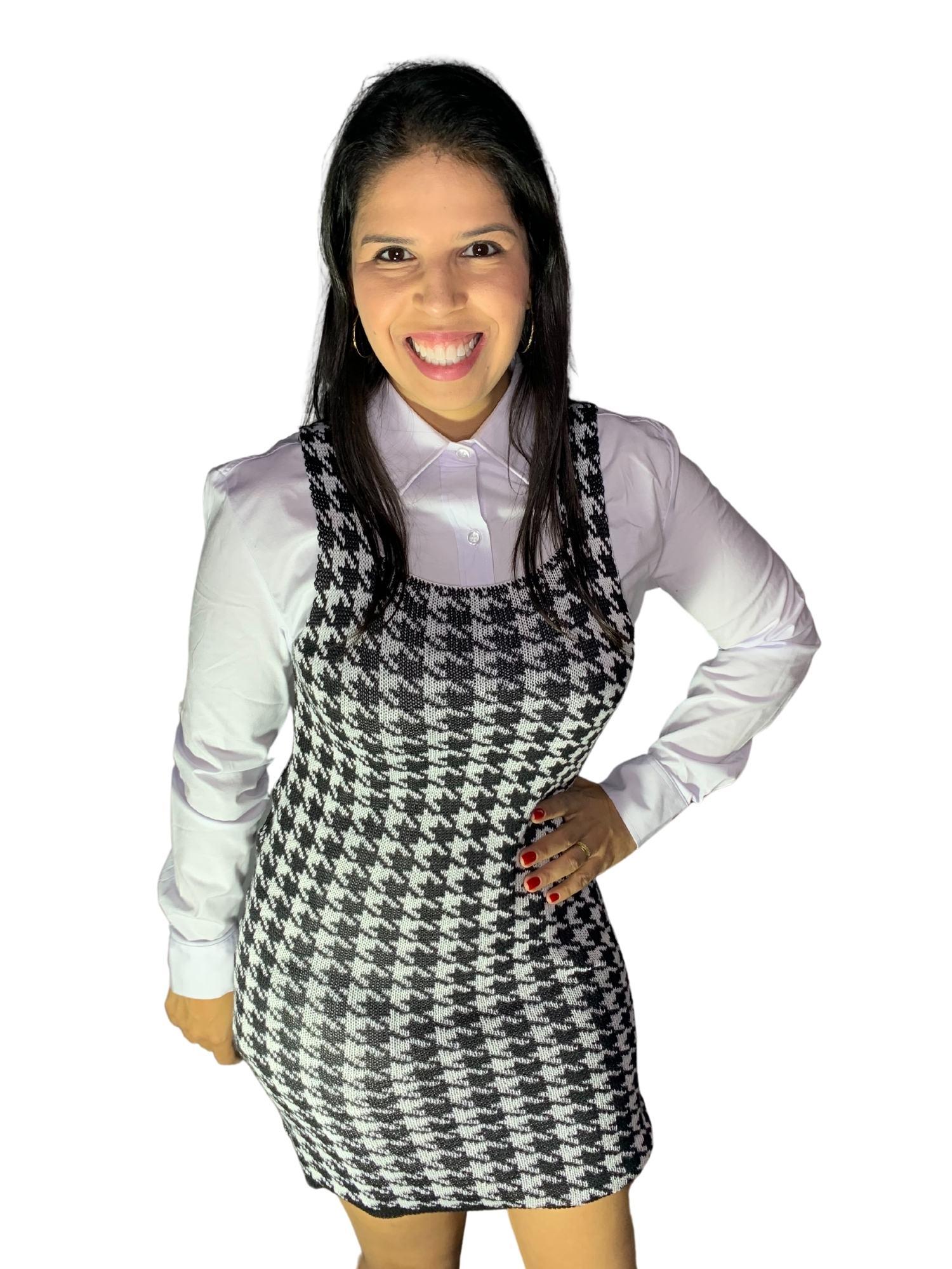 Linha Feminina Vestido Pied Poule Original  105