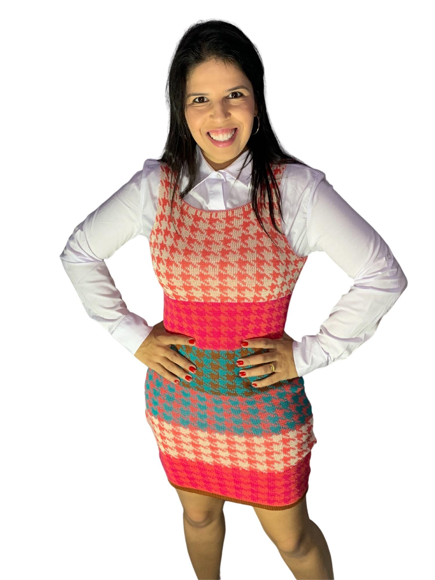 Linha Feminina Vestido Pied Poule Original  106