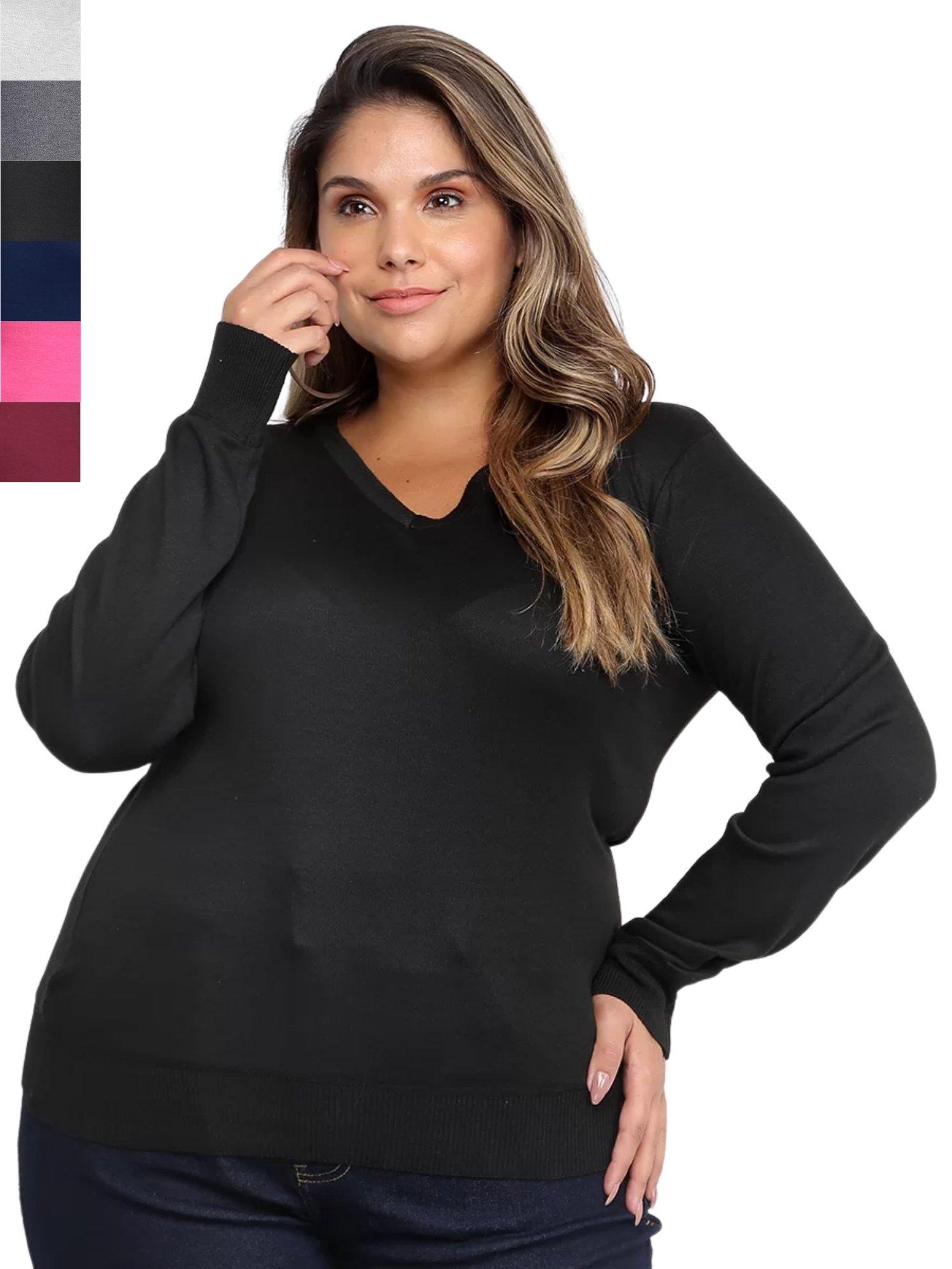 Suéter Plus Size Feminino Gola V Extra Macia 658022