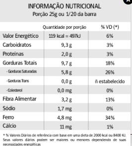 BARRA AMARGO 70% ZERO ACUCAR - 500GR