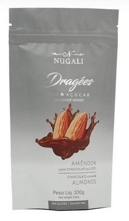 DRAGEE DE AMENDOA COM CHOCOLATE ZERO ACUCAR - 100G