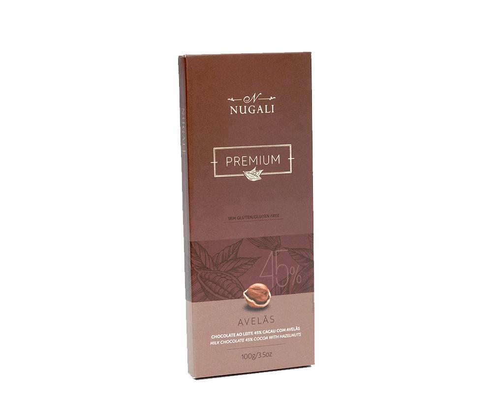 Tablete Chocolate ao Leite com Avelas - 100g