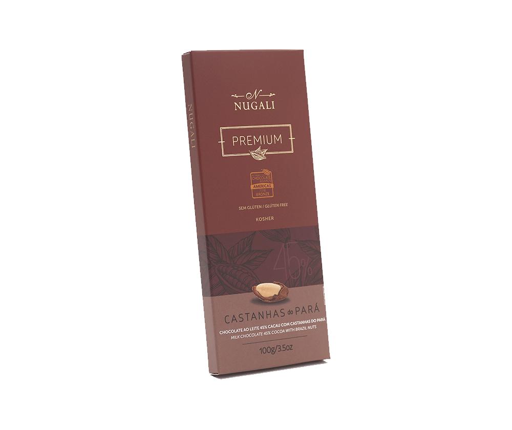 Tablete Chocolate ao Leite com Castanhas do Pará - 100g