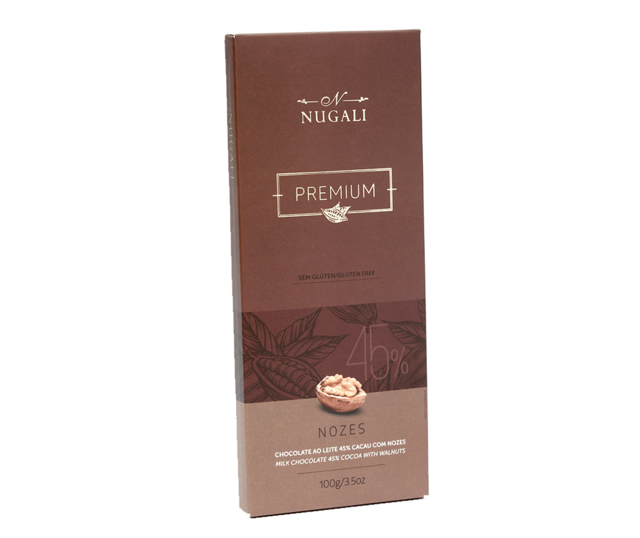 Tablete Chocolate ao Leite com Nozes - 100g