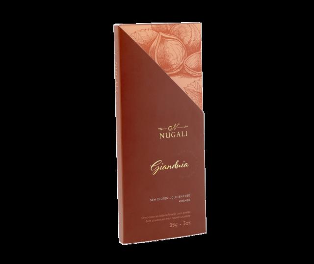 Tablete Gianduia - Chocolate ao leite refinado com avelãs - 100g