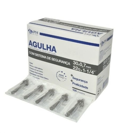 AGULHA DESCARTAVEL  C/ SISTEMA DE SEGURANCA 30 X 0,7 MM CX/100 UNID