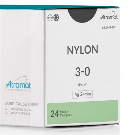 FIO DE SUTURA NYLON PRETO CE2443-NT 24 ENV