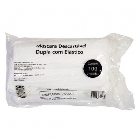 MASCARA DUPLA C/ ELASTICO DESCARTAVEL PCT C/ 100 UN
