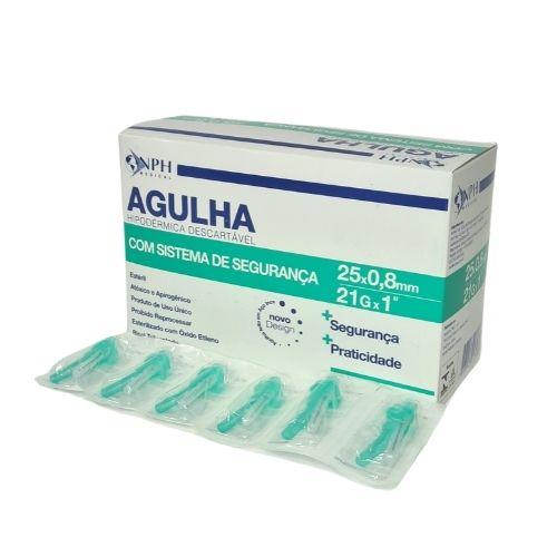 AGULHA DESCARTAVEL C/SISTEMA DE SEGURANCA 25 X 8MM CX/100 UNID