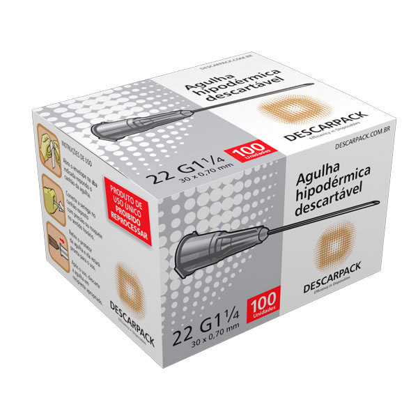 AGULHA HIPODERMICA DESC 30 X 7 CX C 100 UN