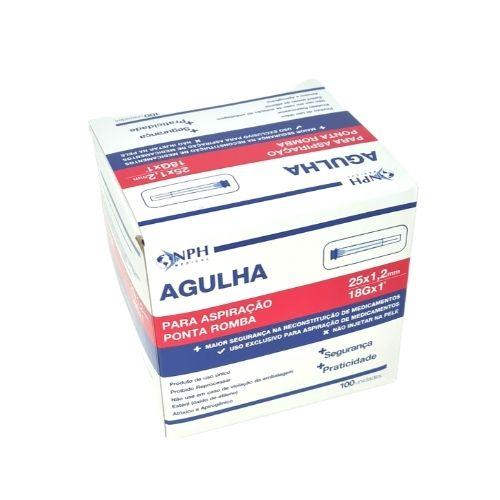 AGULHA P/ASPIRAÇÃO PONTA ROMBA 25 X 1,2 MM CX C/100 UNID
