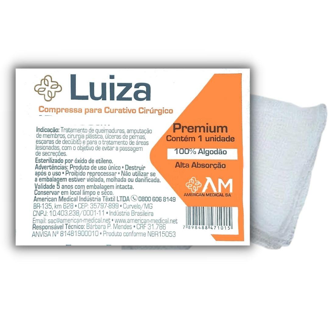 COMPRESSA GAZE ESTERIL C/MANTA DE ALGODAO PREMIUM 10 X 15CM LUIZA