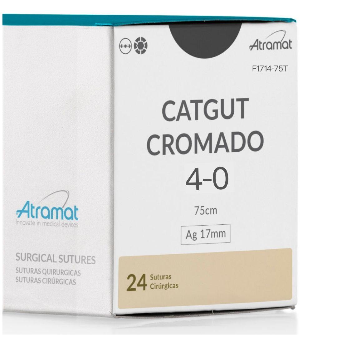 FIO DE SUTURA CATGUT CROMADO OCRE F1714-75T 24 ENV