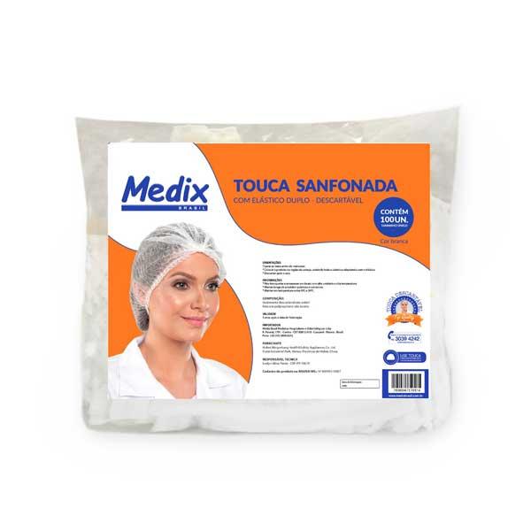 TOUCA DESCARTAVEL BRANCA EM TNT C/ELASTICO - PCT 100 UND