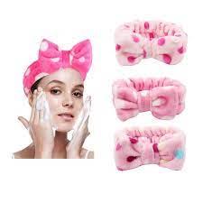Faixa de Cabelo Atoalhada para Maquiagem e Limpeza Facial Skincare com Laço Dafu