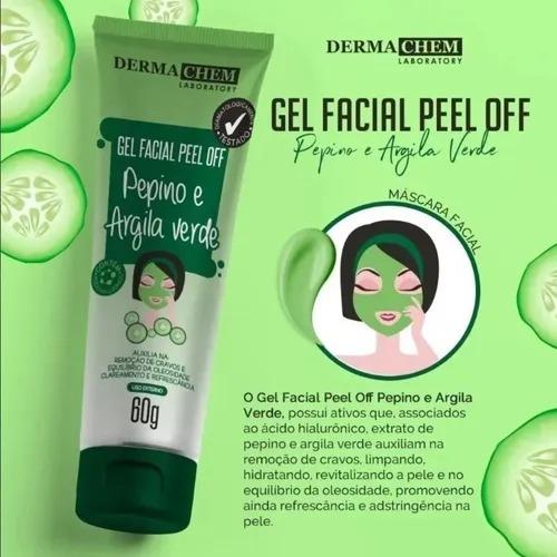 Gel Facial Peel Off Pepino e Argila Verde Dermachem 60g