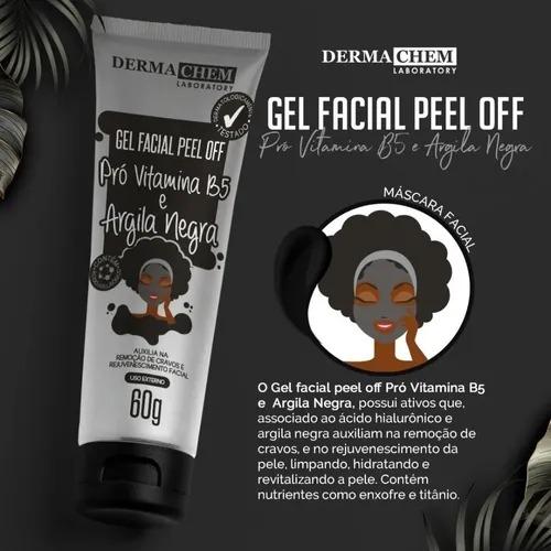 Gel Facial Peel Off Pró Vitamina B5 e Argila Negra Dermachem 60g