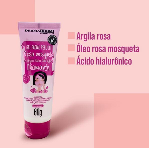 Gel Facial Peel Off Rosa Mosqueta e Argila Rosa com Efeito Diamante Dermachem 60g