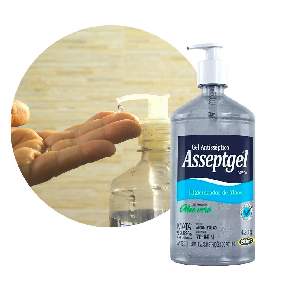 Álcool Gel Kit com 5 frascos 420G Aloe Vera