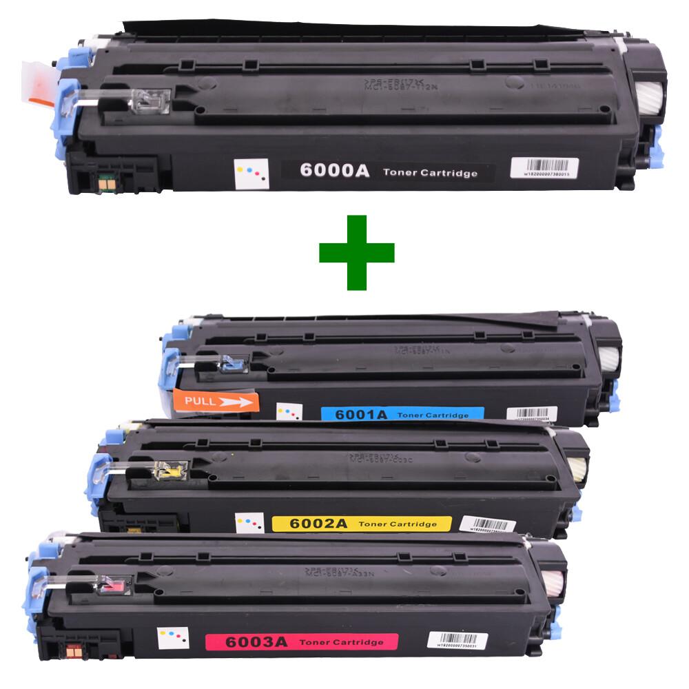 Kit Toner Q6000A/1/2/3 Compatível 2600 CM1015 2600N Preto e Coloridos até 2,5k páginas