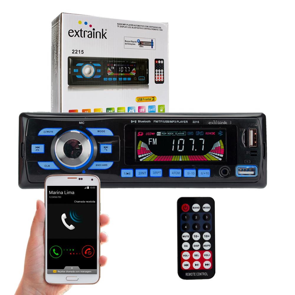 Radio Automotivo Bluetooth com 2 entradas USB, MP3 e Rádio FM