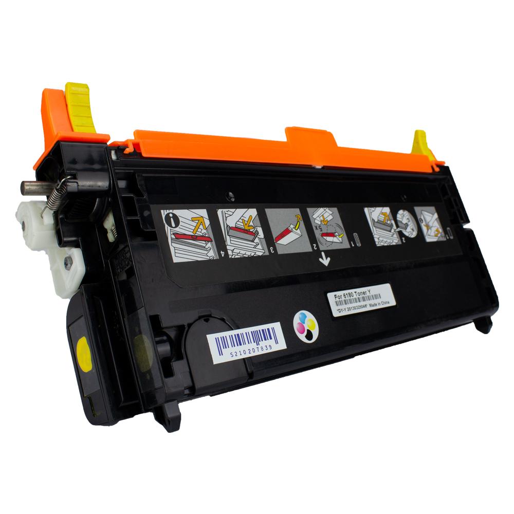 Toner 6180HY Compatível Amarelo 6180N 6180DN 6180MFP  6 mil páginas