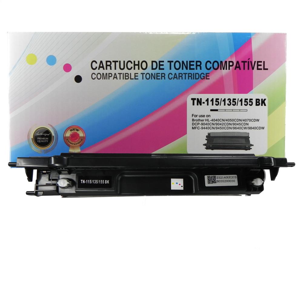 Toner Compatível TN115BK TN110 Tn135 TN155 9840CDW 4070CDW Preto 2,5 mil páginas