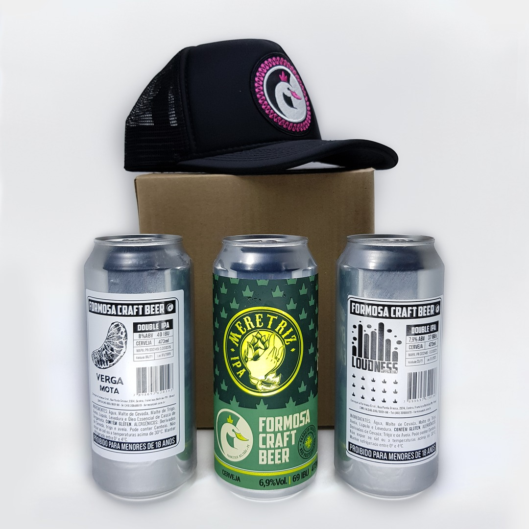 Kit 1 Meretriz IPA, 1 Vergamota Double IPA, 1 Loudness Double Mountain IPA 3 Cervejas 473ml e 1 Boné Formosa Craft Beer