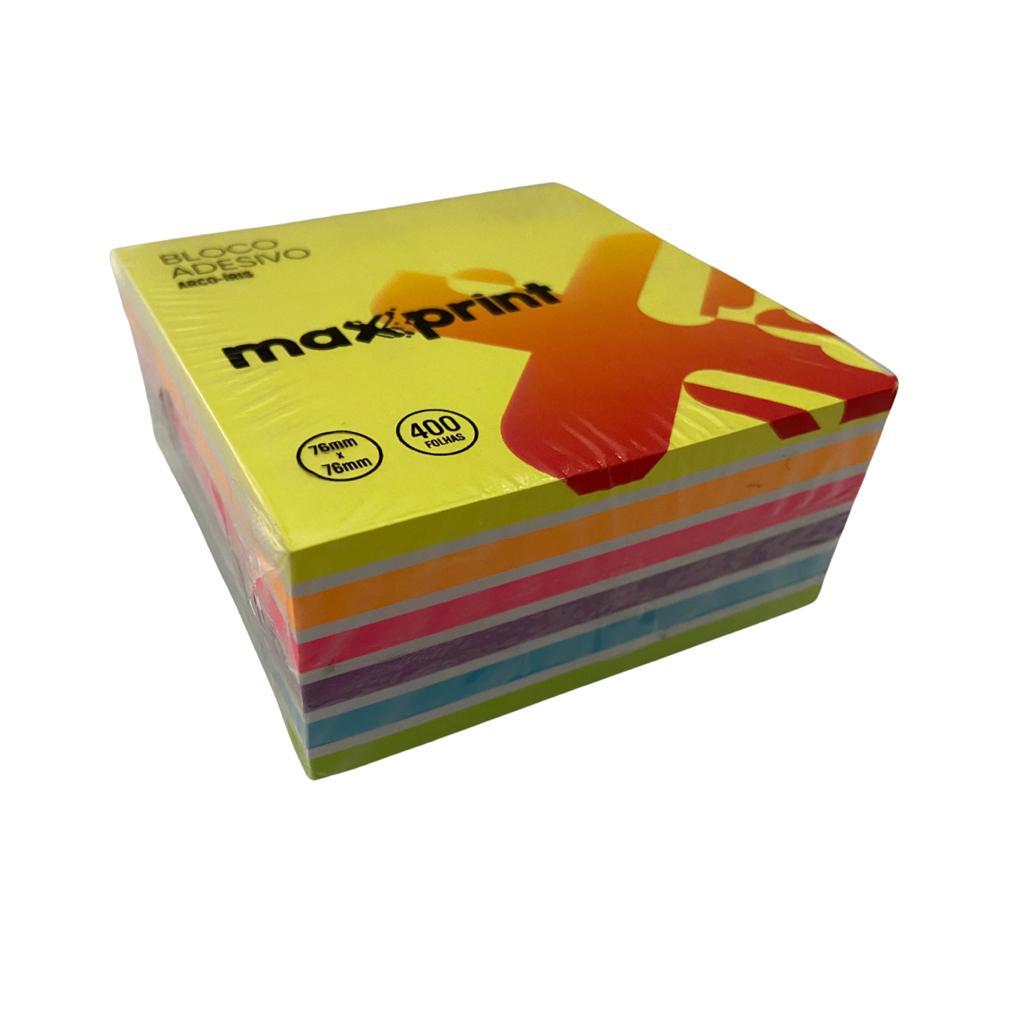 Bloco adesivo MAXPRINT Arco-íris 76x76mm c/ 400 folhas