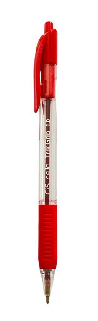 Caneta Esferográfica Retrátil CIS Trik Grip Vermelha 1.0mm
